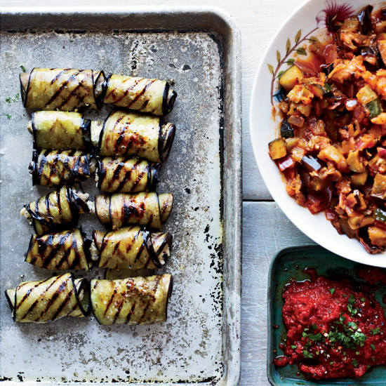Eggplant Involtini with Grilled Ratatouille. Photo © Con Poulos