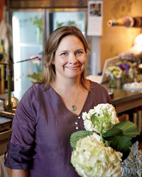 Melrose Market's Katherine Anderson sells bouquets.