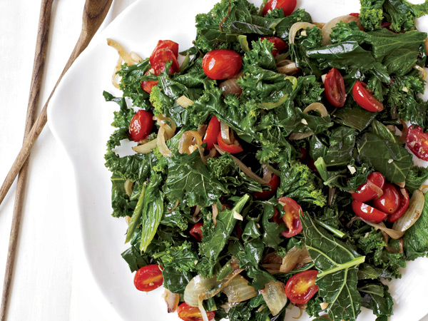 Braised Greens with Tomatoes // © James Baigrie