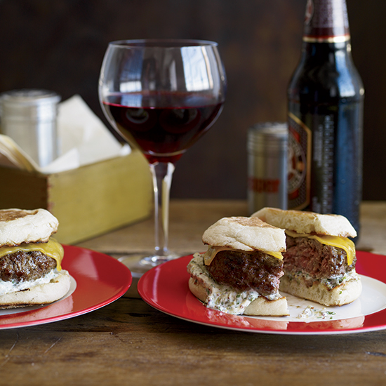Beef-and-Lamb Burgers with Cheddar and Caper Remoulade