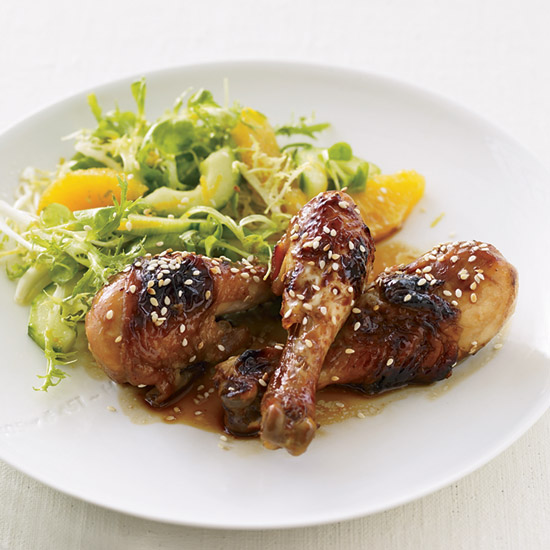 Honey–Soy Sauce Chicken with Mâche-and-Citrus Salad