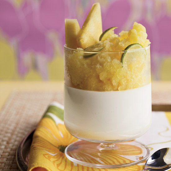 Yogurt Panna Cotta with Pineapple Granita
