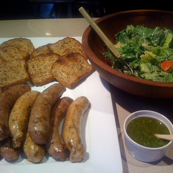 Grilled Sausages with Pesto