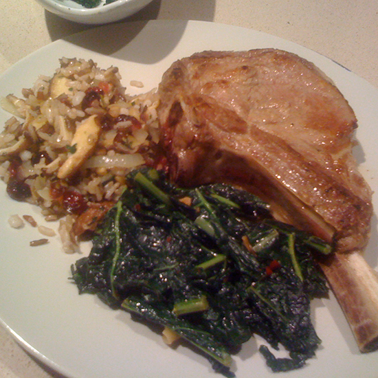 Veal Chop with Grains and Greens