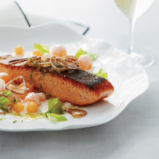 John Shields: Salmon with Cantaloupe and Fried Shallots