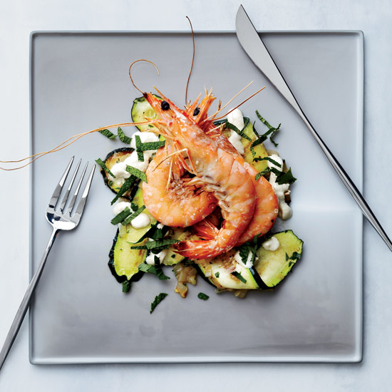 Zucchini Carpaccio with Salt-Broiled Shrimp