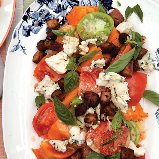 Tomato Salad with Bacon, Blue Cheese and Basil
