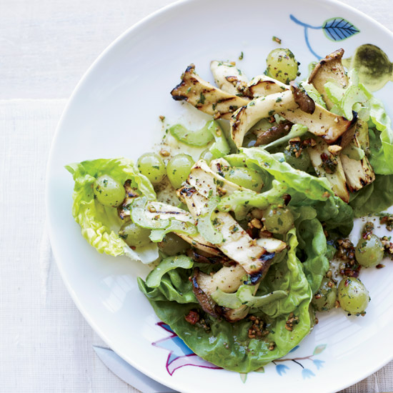 Celery, Grilled Grape and Mushroom Salad