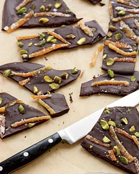 Bittersweet-Chocolate Bark with Candied Orange Peels