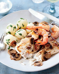 Braised Halibut with Mushrooms and Shrimp