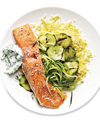Sous Vide Salmon with Cucumbers