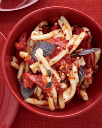 Pasta with Tomatoes and Purple Basil Leaves