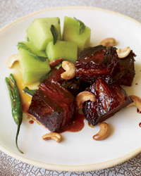 Caramel-Lacquered Pork Belly with Quick-Pickled Honeydew