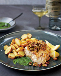 Mustard-Glazed Black Cod with Fingerlings and Chive Puree