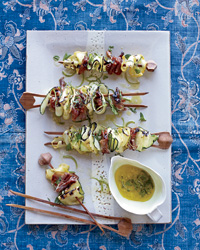 Grilled Squash Ribbons and Prosciutto with Mint Dressing
