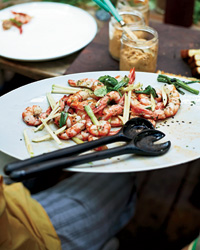 Grilled Shrimp with Apple and Charred Scallions