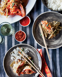 Butter-Poached Lobster with Kimchi Butter Sauce
