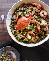 Okra Gumbo with Blue Crabs and Shrimp