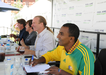 Marcus Samuelsson, Michel Nischan, Mark Oldman and John Besh during a book signing