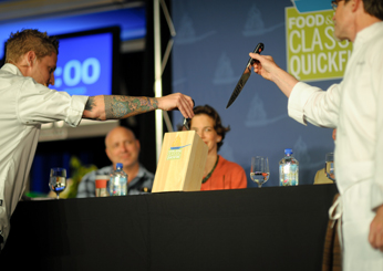 Classic Quickfire contestants Michael Voltaggio and Rick Bayless draw knives