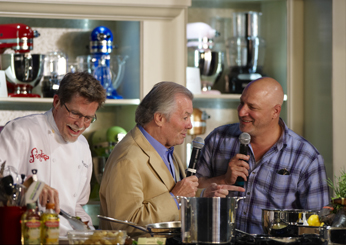 Classic Quickfire judges Jacques Pépin and Tom Colicchio on a kitchen walkthrough