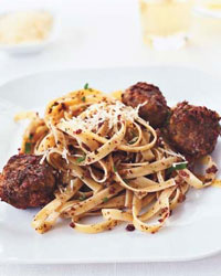Olive-Mint Pesto Meatballs with Fettuccine