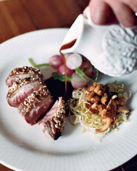 Crunchy Almond-Crusted Duck Breasts with Chanterelle Salad