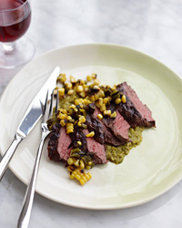 Grilled Skirt Steak with Poblano-Corn Sauce and Salsa