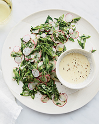 Snap Pea and Radish Salad with Tahini Dressing
