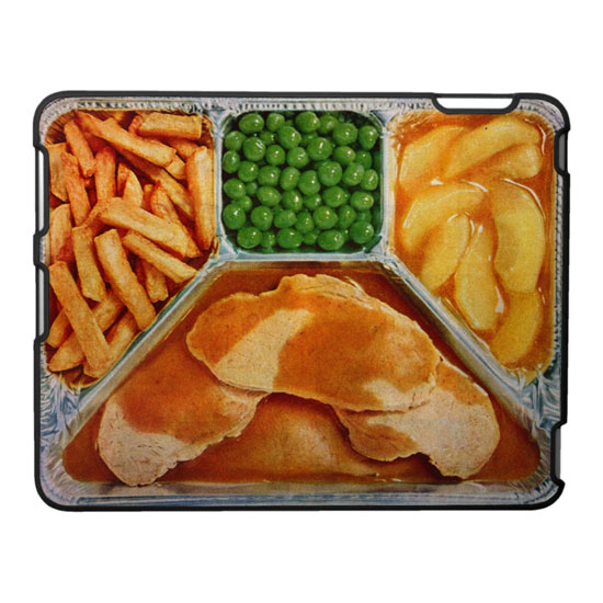 TV Dinner of Pork Loin with Fries, Peas and Glazed Apples iPad Case