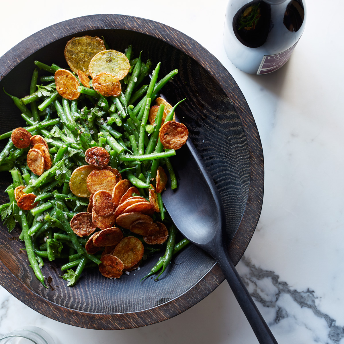 Haricots Verts Salad with Crispy Potato Chips