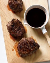 Bison Steaks with Fig-Balsamic Sauce