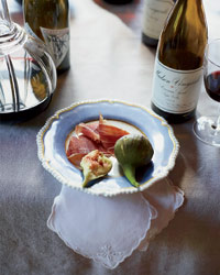 Wine, figs and prosciutto at David Tanis's Thanksgiving