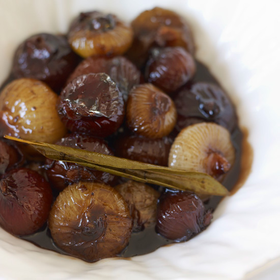 Balsamic-Glazed Cipollini with Lemon and Bay Leaves