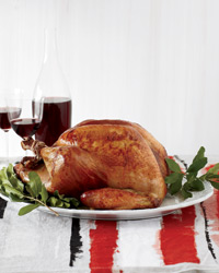 Roasted Beer-Brined Turkey with Onion Gravy and Bacon