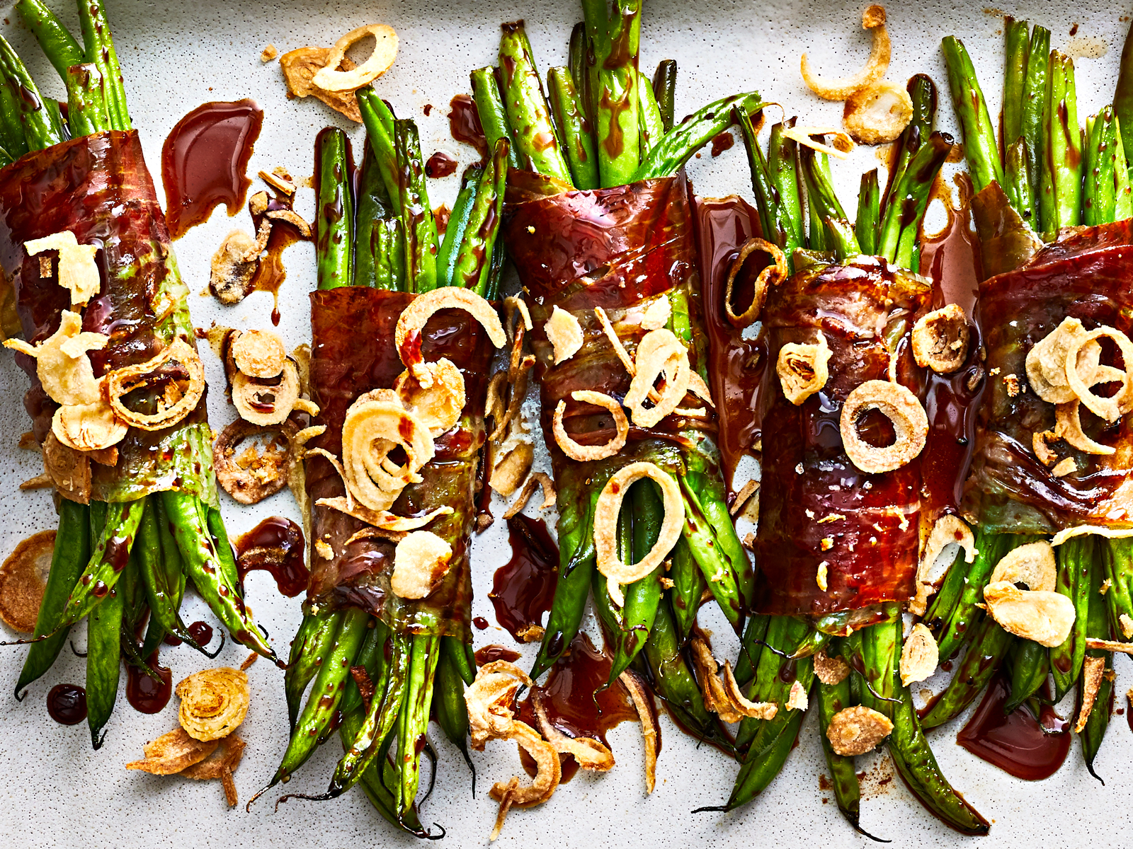 Speck-Wrapped Haricots Verts with Date Molasses Recipe