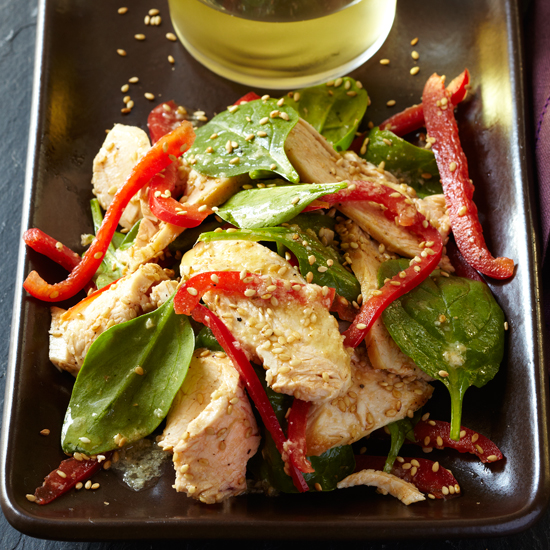 Chicken-and-Spinach Salad with Toasted-Sesame Dressing