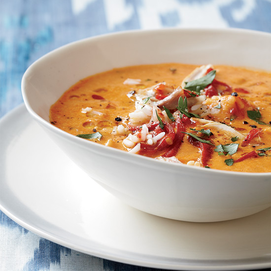 Creamy Piquillo Pepper and Chickpea Soup with Chicken