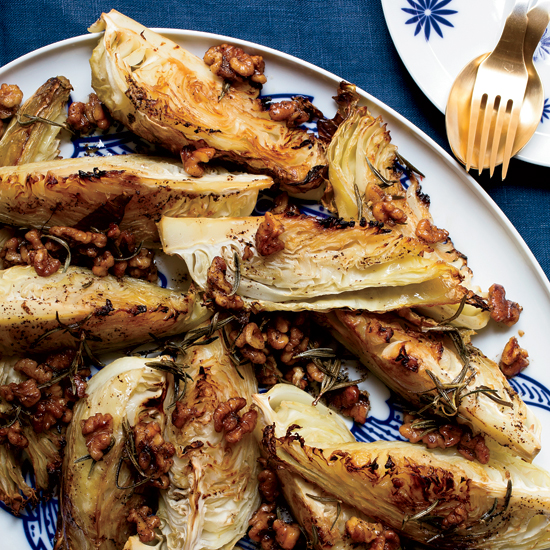Roasted Cabbage with Warm Walnut-Rosemary Dressing