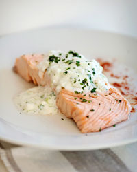 Poached Salmon with Cucumber Raita