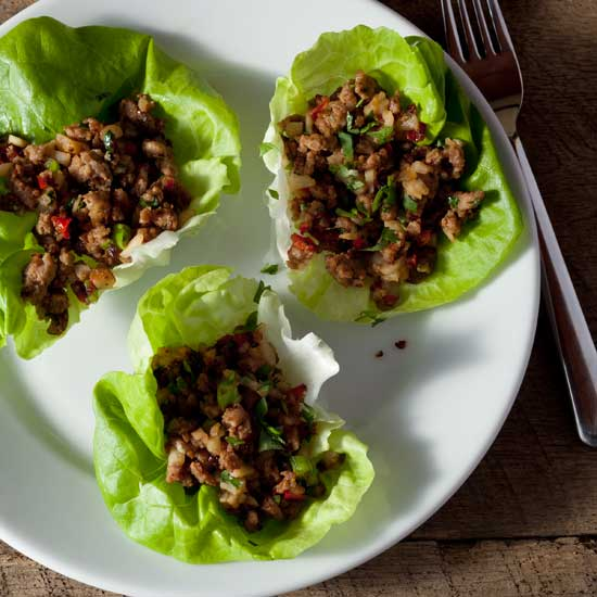Spicy Ginger Pork in Lettuce Leaves