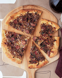 Andouille Pizza with Onion Confit and Fontina Cheese
