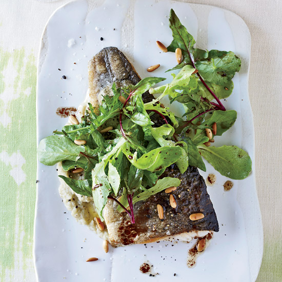 Trout with Warm Pine-Nut Dressing and Fennel Puree