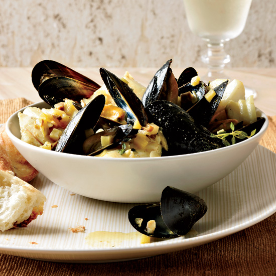 Curried Cod and Mussels