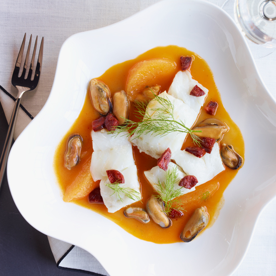 Olive Oil-Poached Cod with Mussels, Orange and Chorizo
