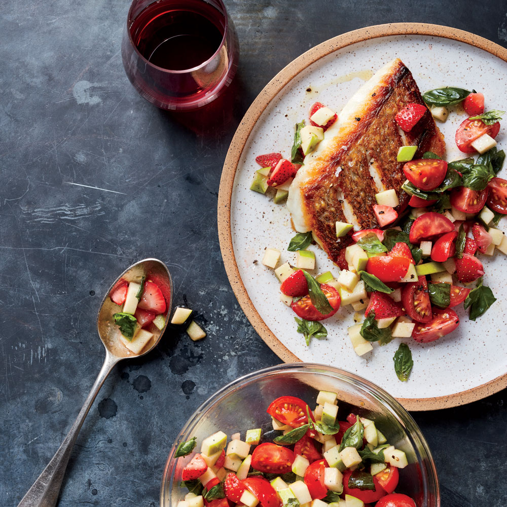 Seared Snapper with Granny Smith, Strawberry, 