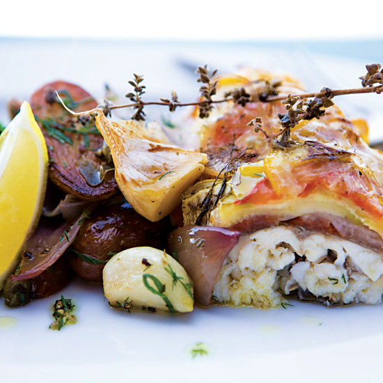 Roasted Sea Bass with Summer Squash