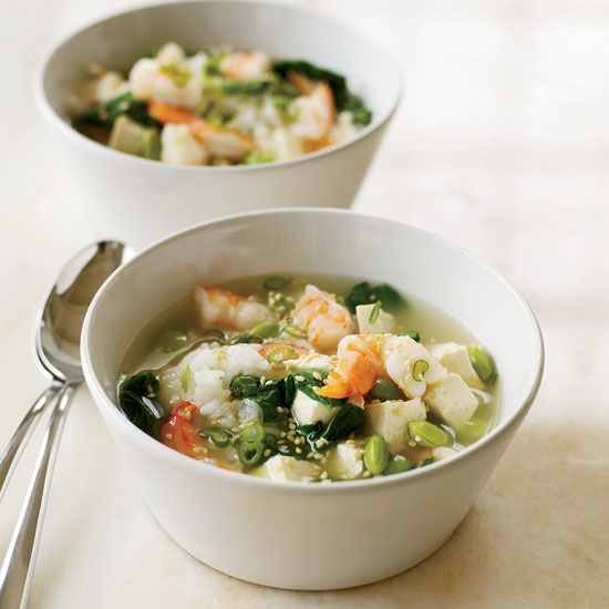 Miso Soup with Shrimp and Tofu