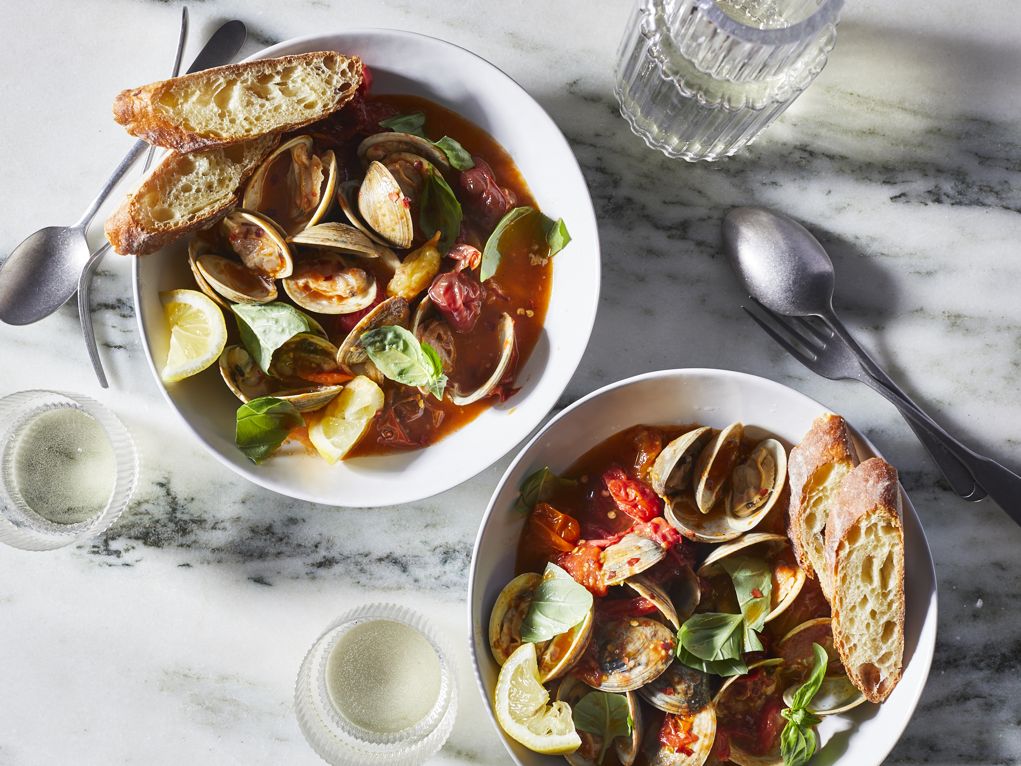 Steamed Clams with Tomatoes and Basil