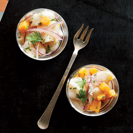 Scallop ceviche and sweet potato